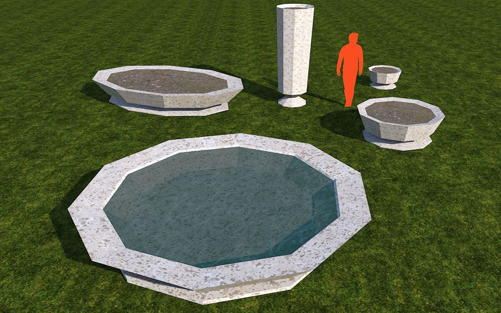 My Adventures In SketchUp: Planters 'n' Fountains Set - Screenshot Displaying Set Pieces, B, Image 02