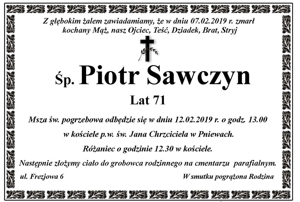 Żyli wśród nas – Piotr Sawczyn