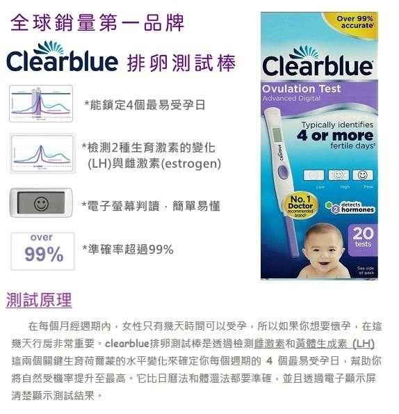 clearblue電子測試棒(中文說明),在每個月經週期內,女性只有幾天時間可以受孕,如果你要懷孕,在這幾天行房非常重要。clearblue排卵測試棒是透過檢測雌激數和黃體生成數這兩個關鍵生育賀爾蒙的水平變化來確定你每個周期最易受孕日