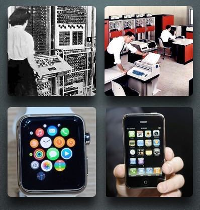 Pic of Colossus, Apple watch, IBM mainframe and iPhone