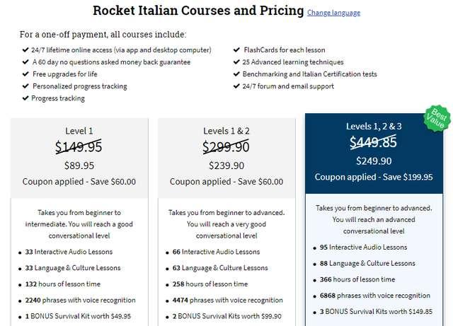 rocket italian cost