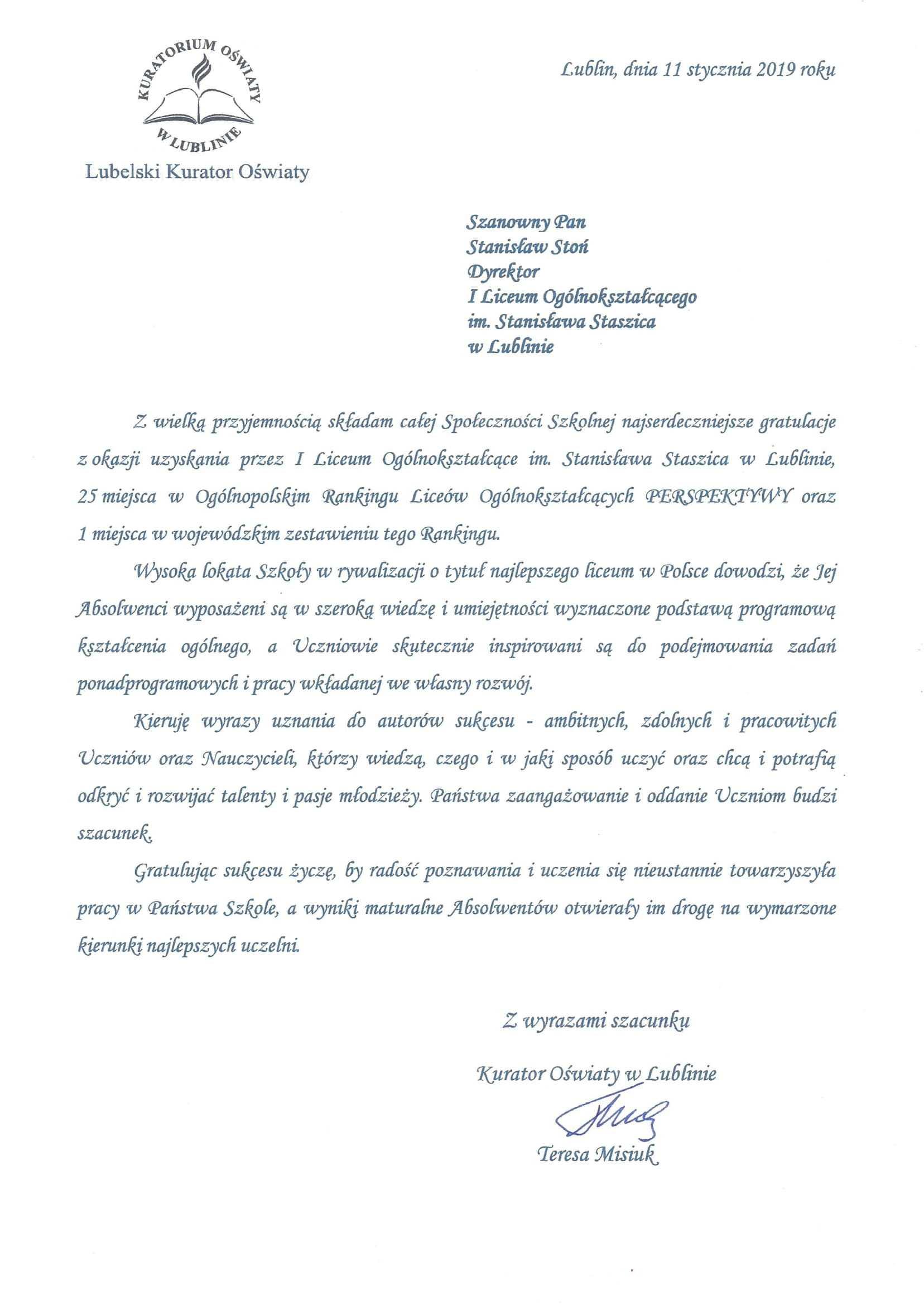 Pismo od Kuratora