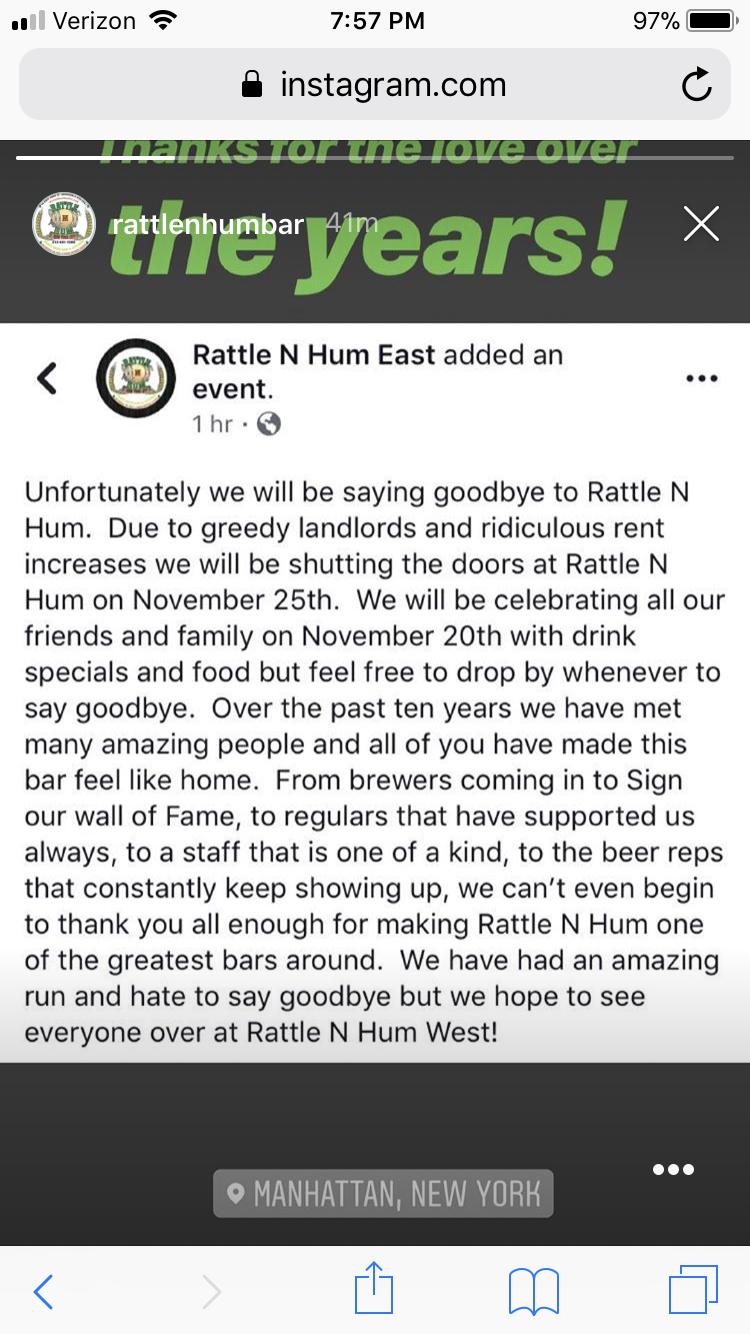 Rattle n Hum (east) closing | Community | BeerAdvocate