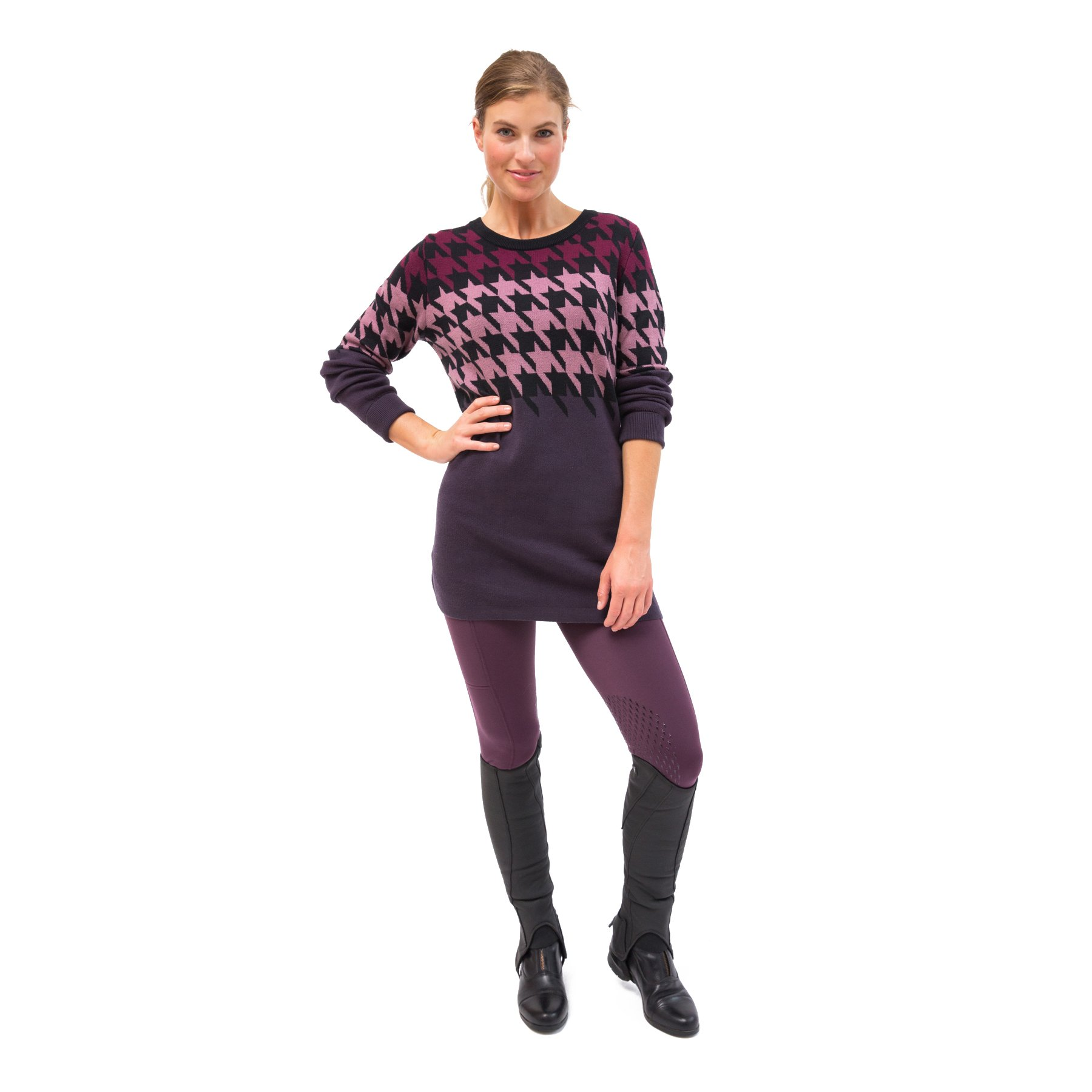 Kerrits-Equestrian-Women-039-s-Houndstooth-Tunic-Sweater-with-Scoop-Neck miniature 5