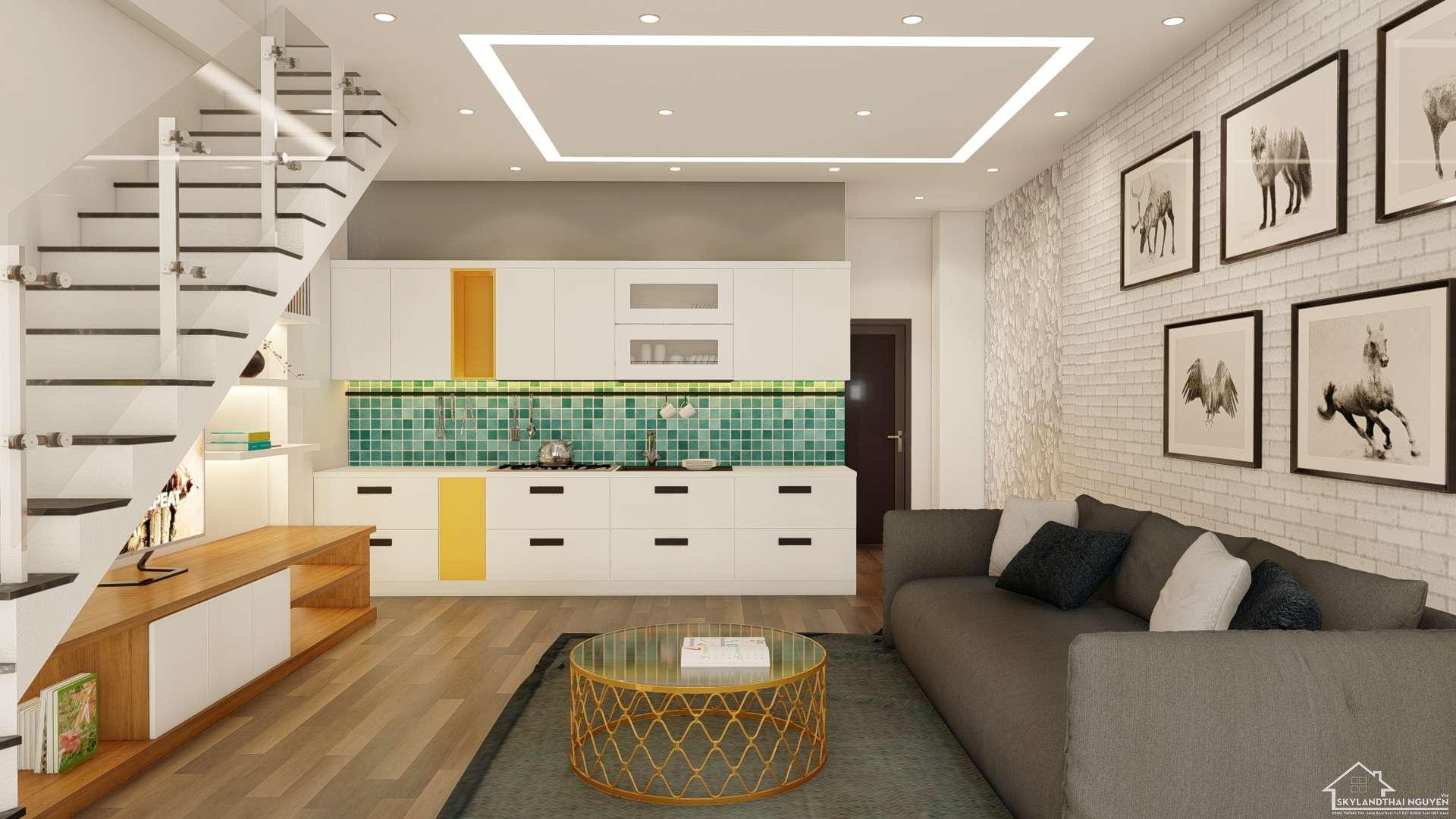 Mẫu nhà có gác lửng diện tích 61m2 siêu đẹp & tiết kiệm chi phí