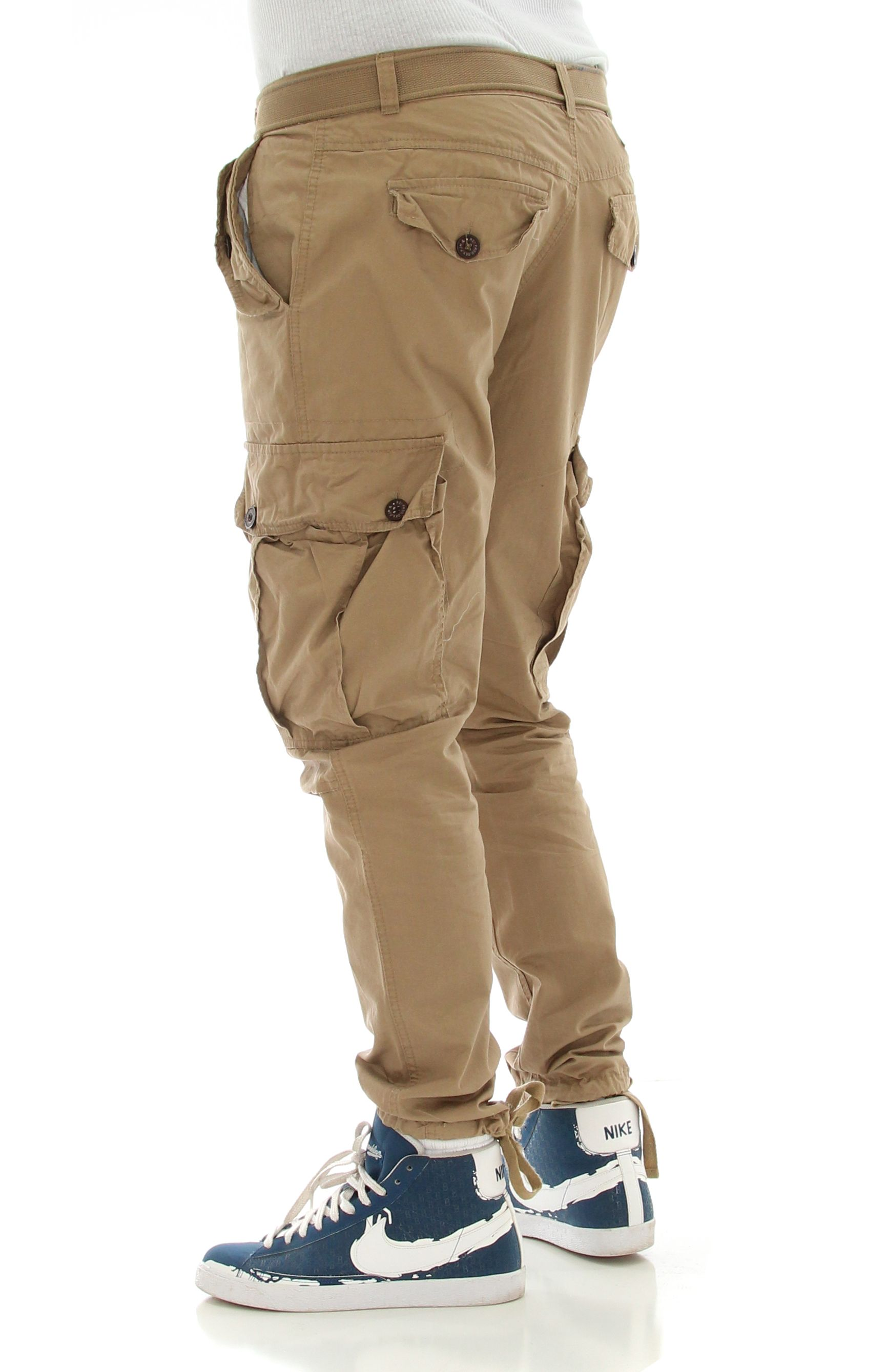 c69bf23e9ee5 PJ Mark Men s Slim Fit Twill Belted Cargo Pants