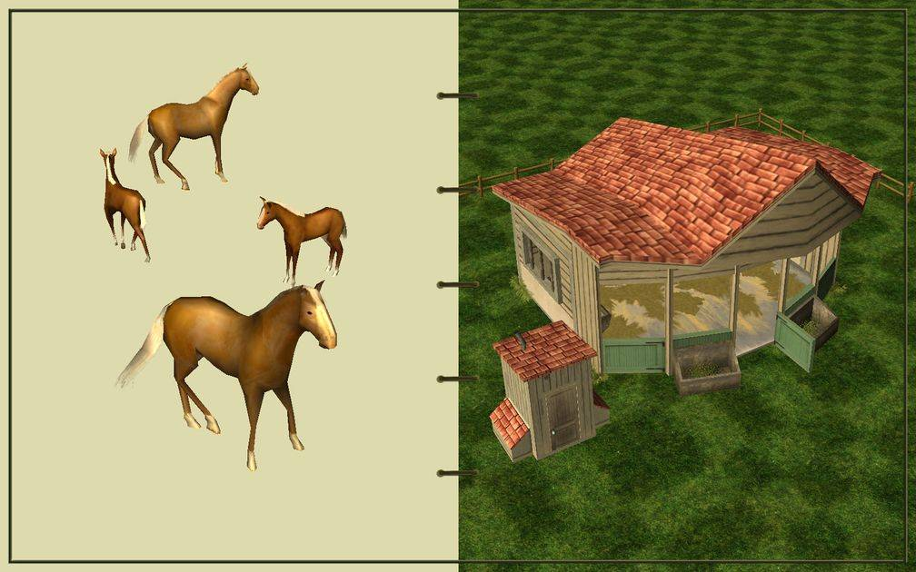 Image 09, RCT3 FAQ, Volitionist's RCT3 Animal Care Guide, Page 2: Horses And Small Herbivore House With Wooden Fence