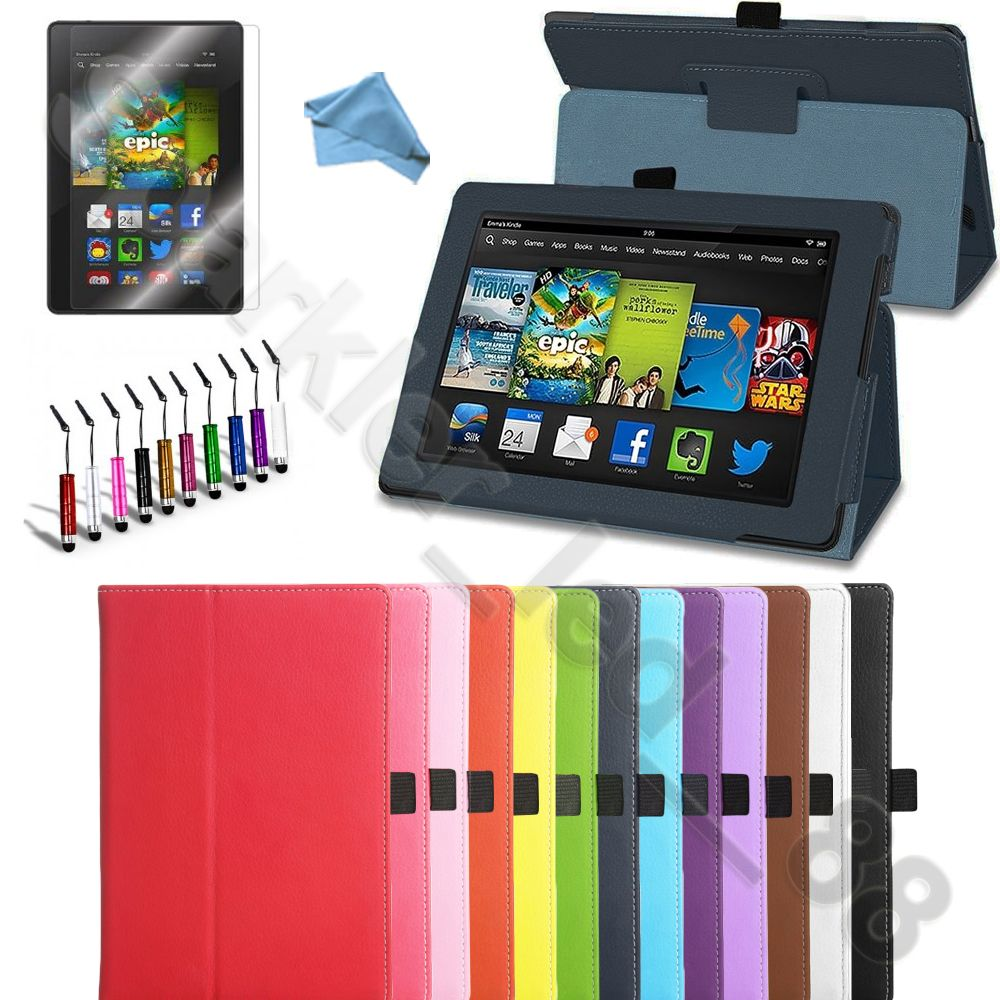 PU Leather Folio Case Cover Stand For Amazon Kindle Fire
