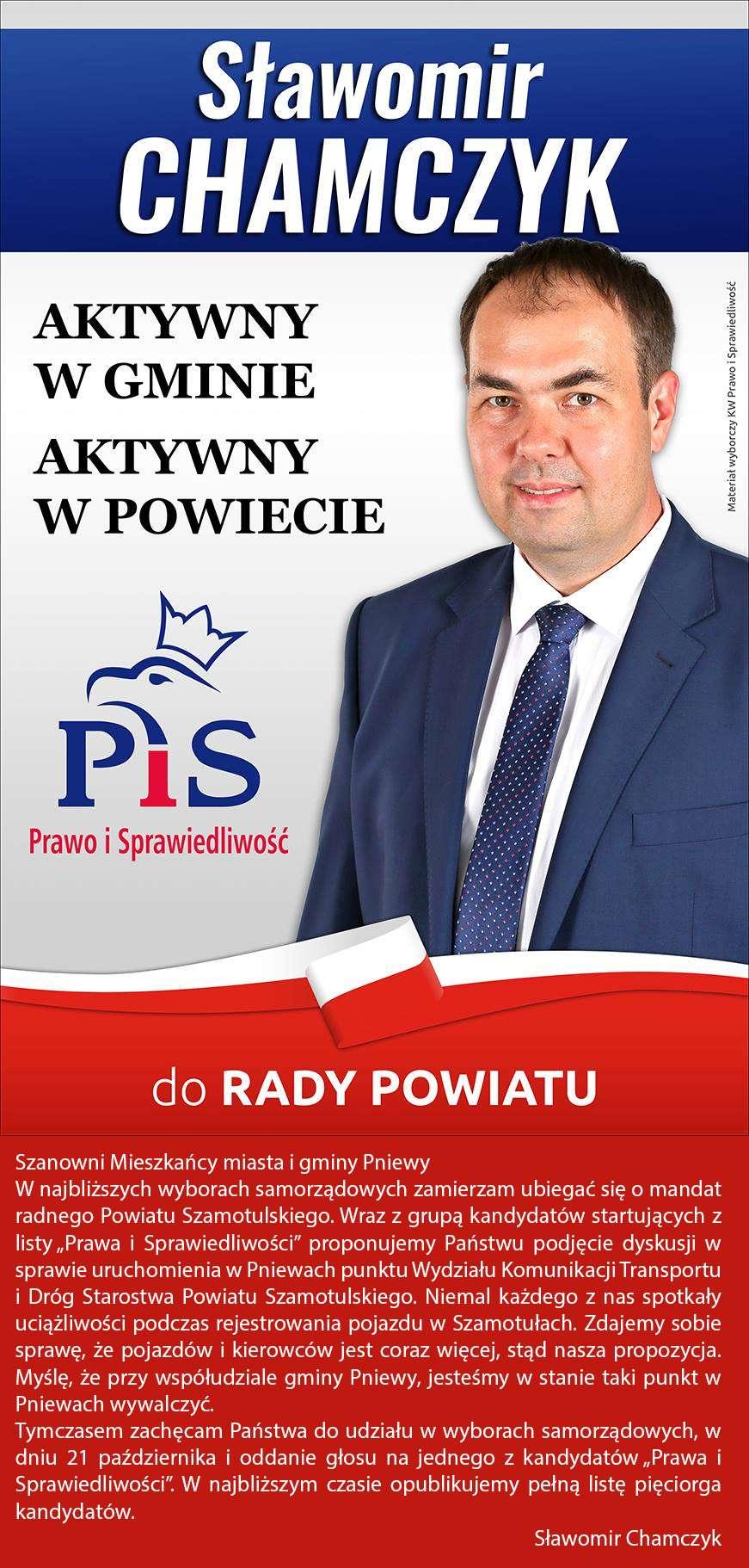 Sławomir Chamczyk – lista powiatowa PiS