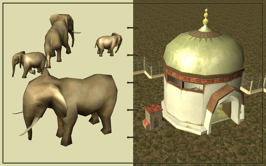 Image 03, RCT3 FAQ, Volitionist's RCT3 Animal Care Guide, Page 2: Elephants And Elephant House With Electric Fence
