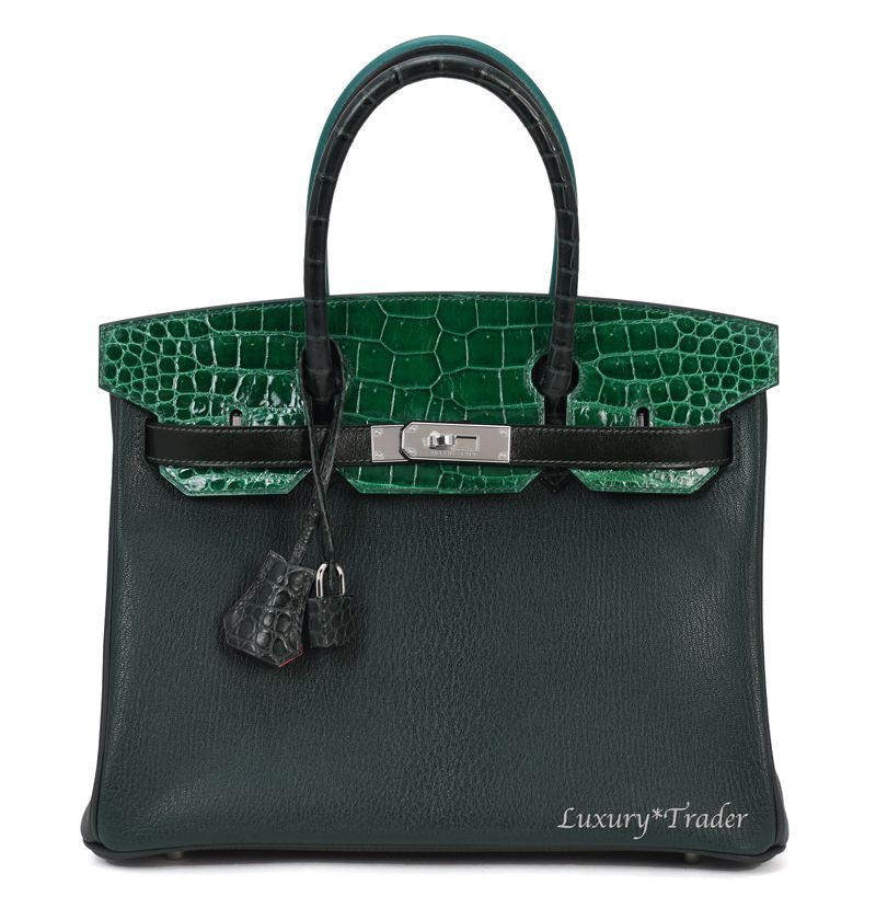 4ffe2e09ad Details about BRAND NEW RARE 2017 EXOTIC HERMES BIRKIN 30cm PATCHWORK  CAMOUFLAGE CROCODILE BAG
