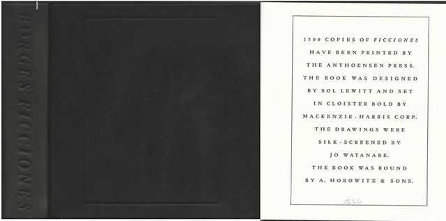 Ficciones Jorge Luis Borges - SIGNED by the ARTIST, LIMITED EDITION, Jorge Luis Borge; Silk-Screens By Sol Lewitt