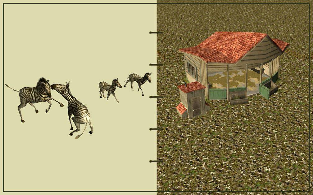 Image 21, RCT3 FAQ, Volitionist's RCT3 Animal Care Guide, Page 3: Zebras And Small Herbivore House With Wooden Fence