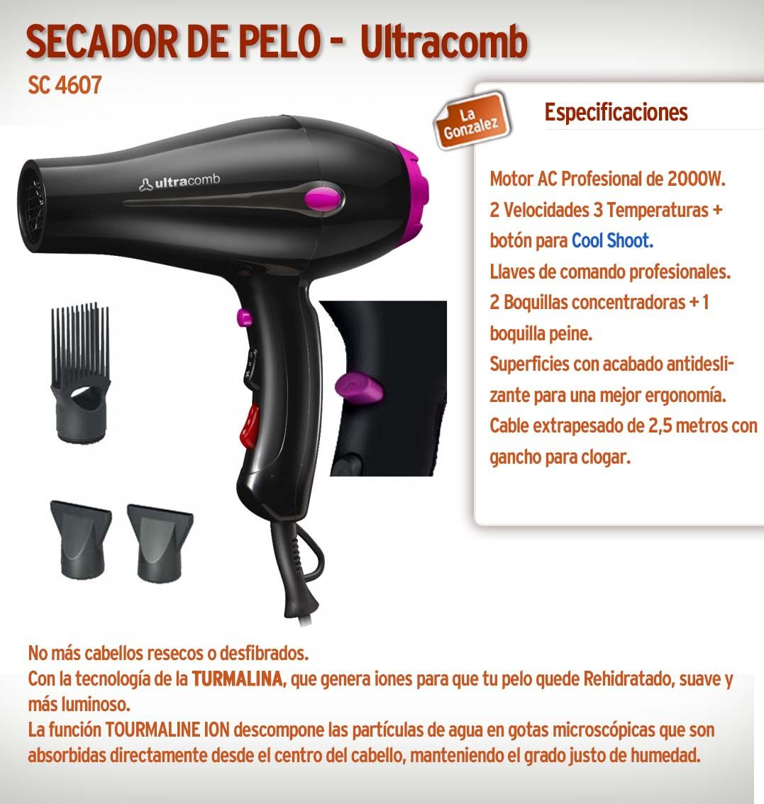 Secador De Pelo Ultracomb Sc4607 Ultra Prof Tourmaline  699ec0a00e5b