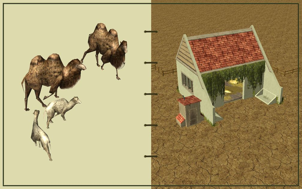 Image 01, RCT3 FAQ, Volitionist's RCT3 Animal Care Guide, Page 2: Camels And Large Herbivore House With Wood Fence