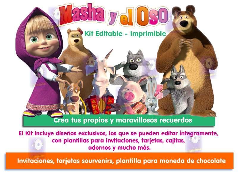 Masha Y El Oso Kit Imprimible Invitaciones De Cumpleaños Tarjetas Candy Bar
