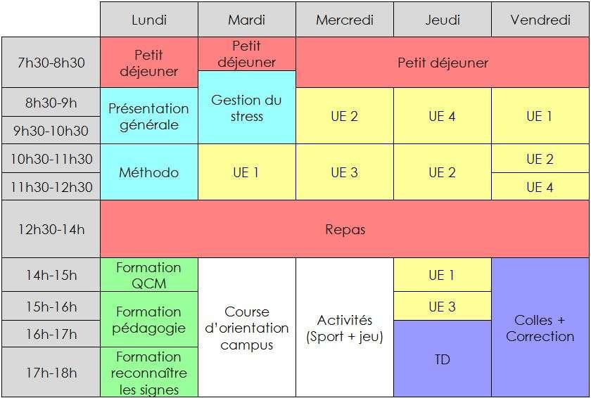 Planning de la pré-rentrée à Poitiers