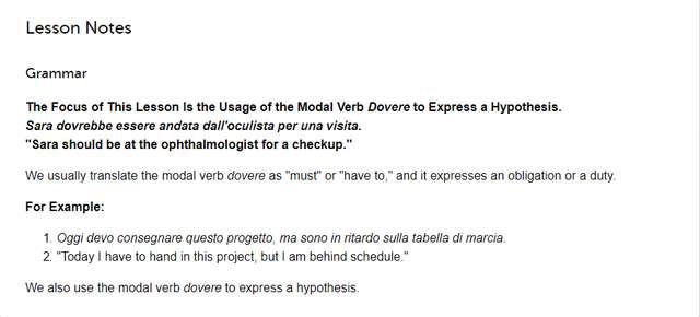 ItalianPod101 Lesson Notes