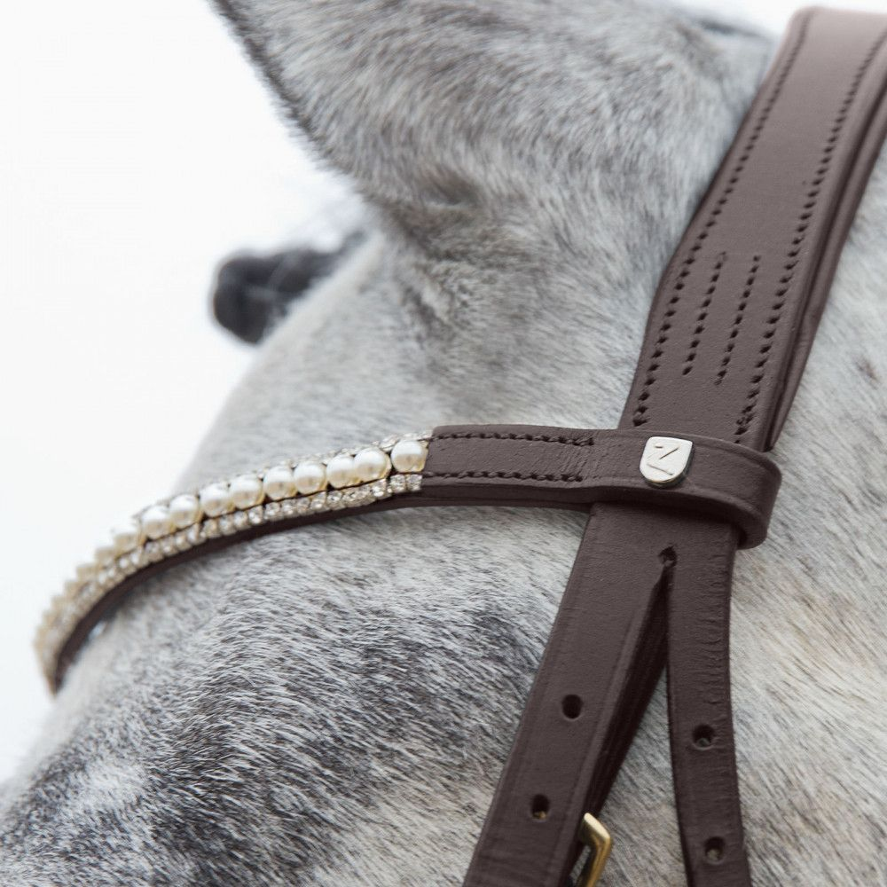 Horze-Trajan-Leather-Snaffle-Flash-Bridle-with-Narrow-Browband-and-Reins miniature 20