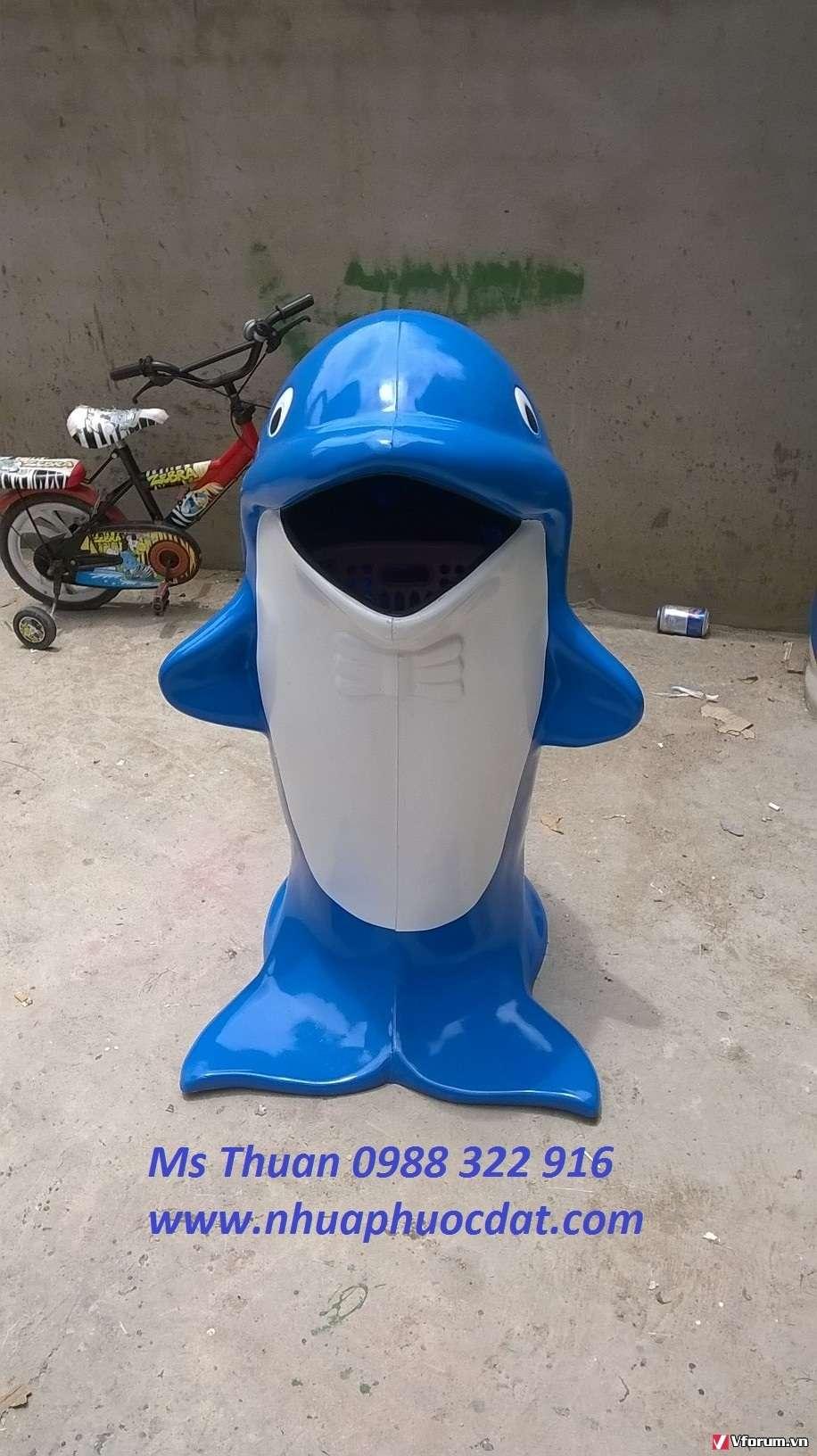 Bán thùng rác cá heo, thùng rác hình thú trên toàn quốc.