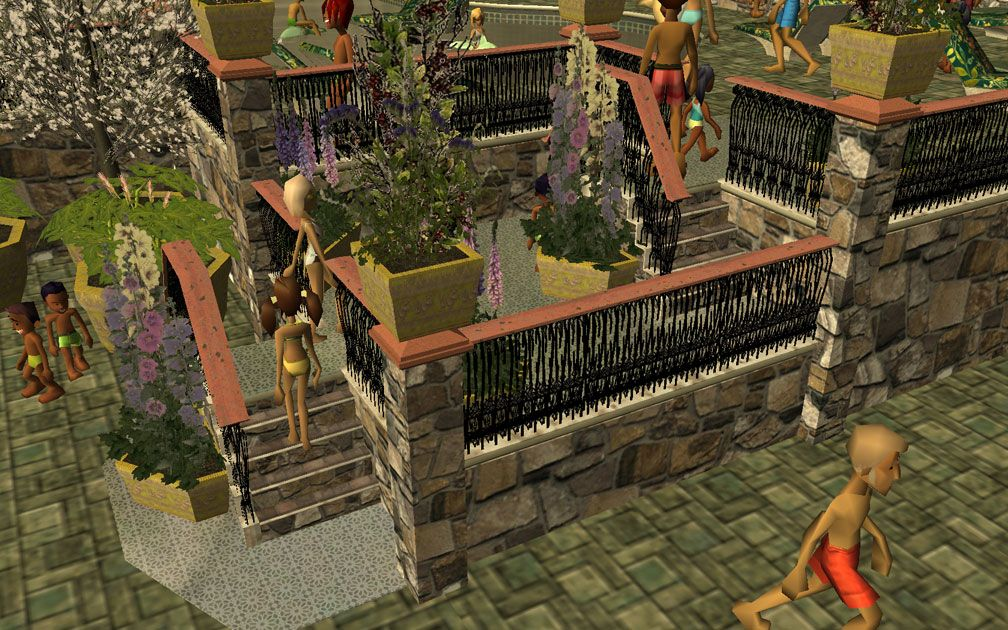 My Projects - CSO's I Have Imported, Pool Paths Set - Screenshot of Pool Stairs Displaying Post-Top Planters and Matching Field Stone Pool Accessories, Image 05