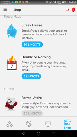 spend lingots on duolingo