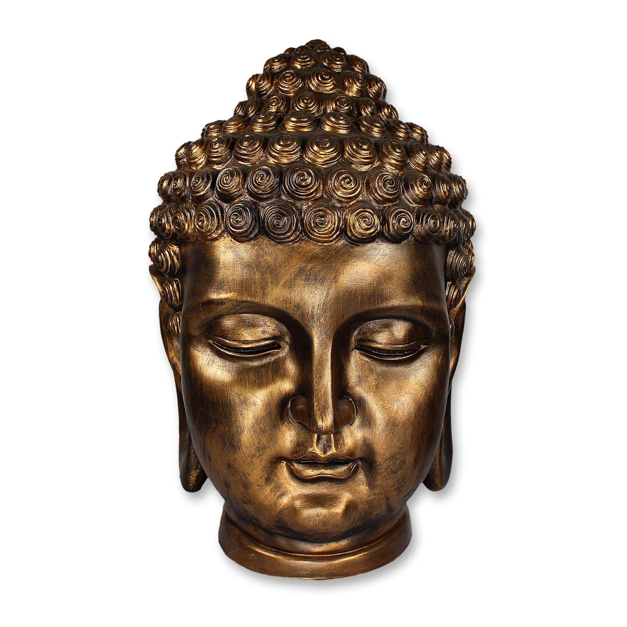 buddha buddhakopf design figur kopf skulptur xxl deko altbronze 50 cm ebay. Black Bedroom Furniture Sets. Home Design Ideas