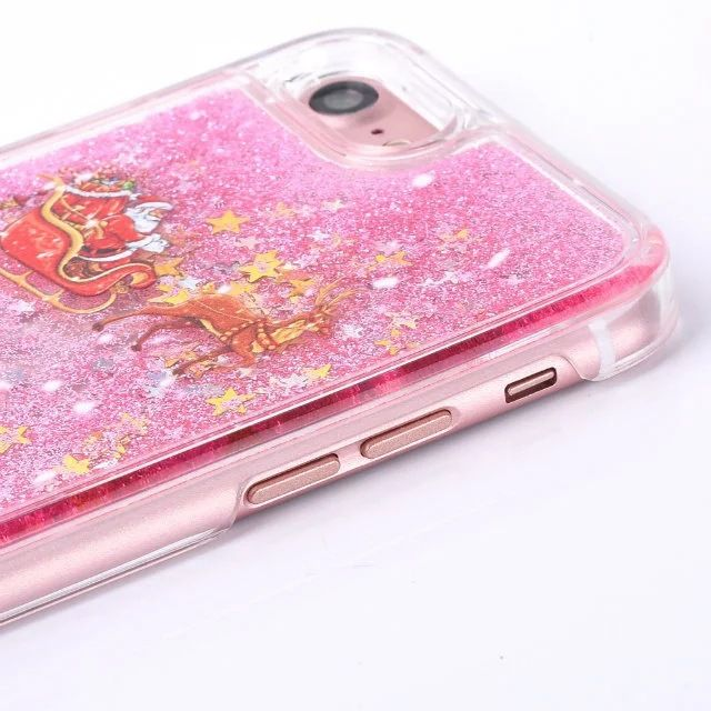 COVER CUSTODIA NATALE con EFFETTO NEVE LIQUID GLITTER per Iphone 6