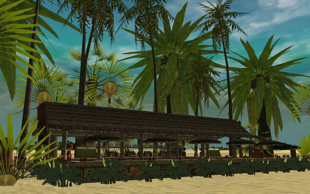 Showcase! Winter 2017 - Mr. Sion's Tiki Bar - Image 17: Assembled Tiki Bar, Distant View Surrounded With Palms