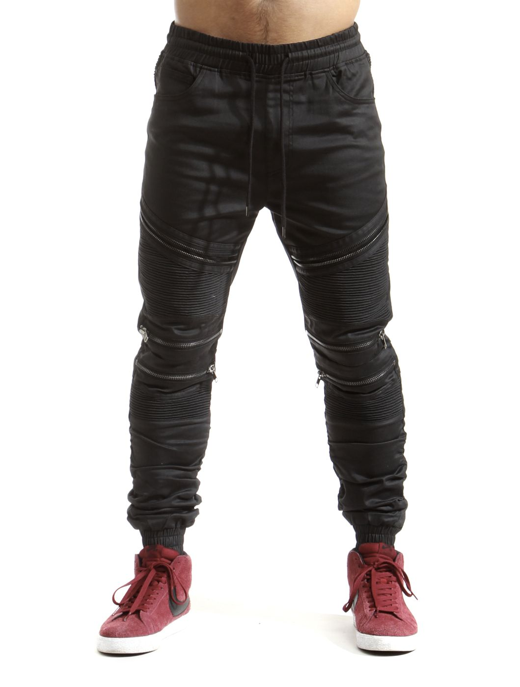 Smoke Rise Men/'s Stretch Twill Biker Moto Pants With Front Zippers