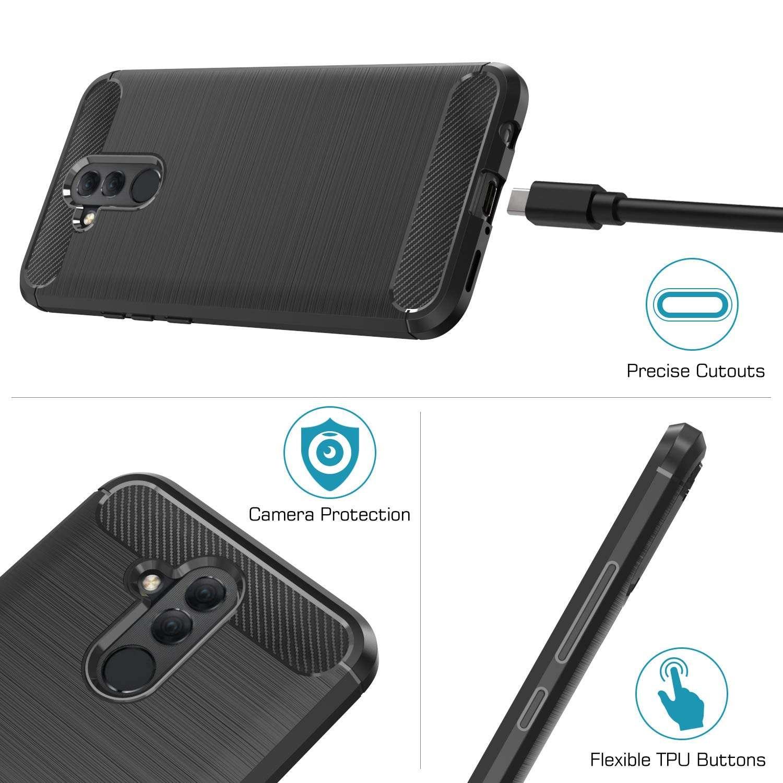 Coque-Etui-Housse-Silicone-brossee-Fibre-de-carbone-Noir-Protection-Huawei miniature 25