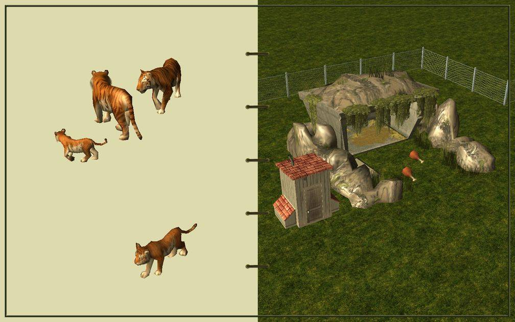 Image 20, RCT3 FAQ, Volitionist's RCT3 Animal Care Guide, Page 3: Tigers And Carnivore House With Chain Fence