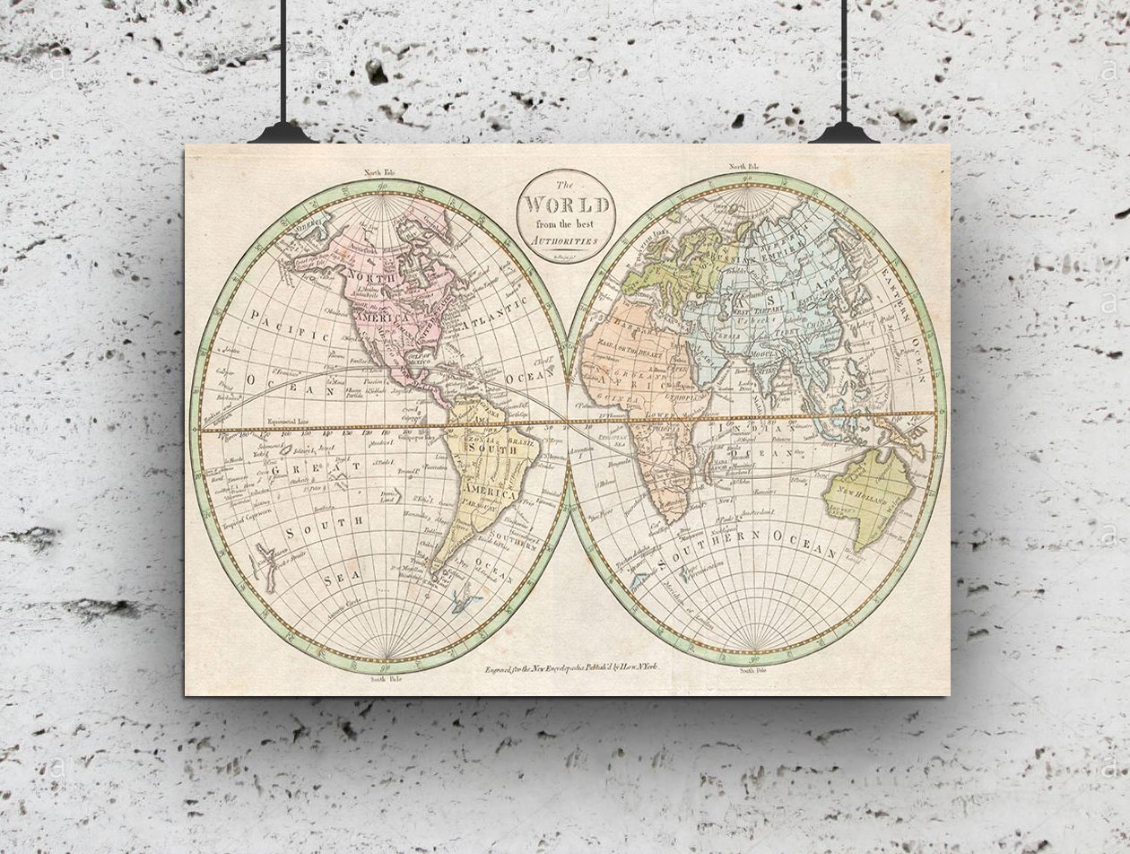 picture about Vintage World Map Printable identified as Data concerning Traditional Planet MAP PRINT A4 280GSM SATIN PAPER Household Bed room Exploration Useful