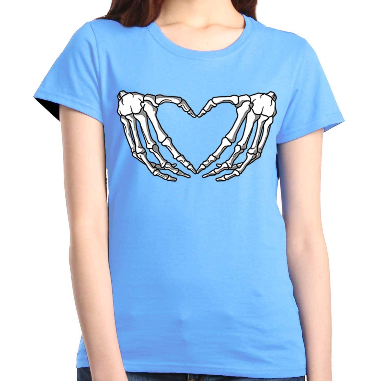skeleton hands making heart women 039 s t shirt