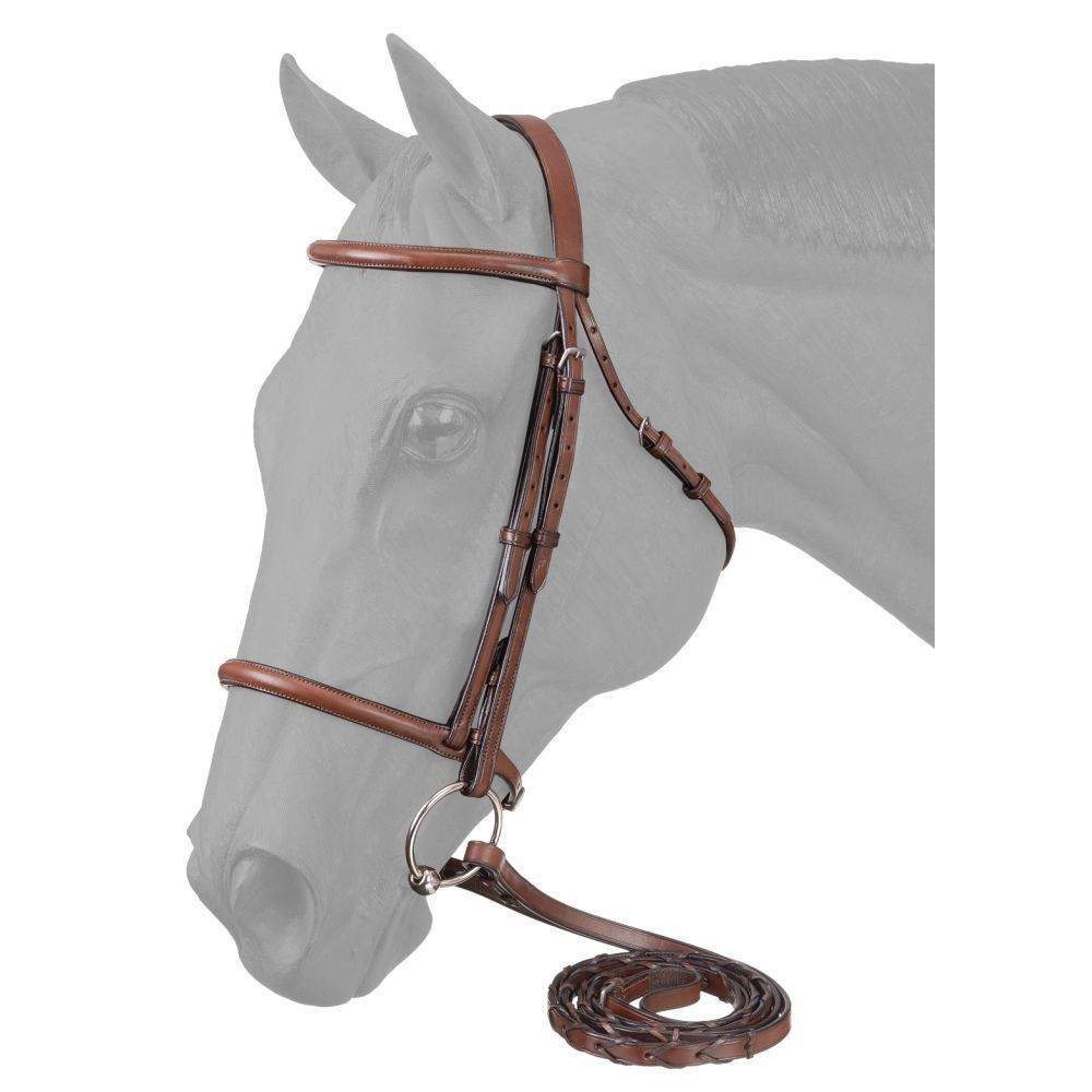 EquiRoyal Premium Raised Raised Raised Leder English Snaffle Bridle with Laced Reins 26abfa