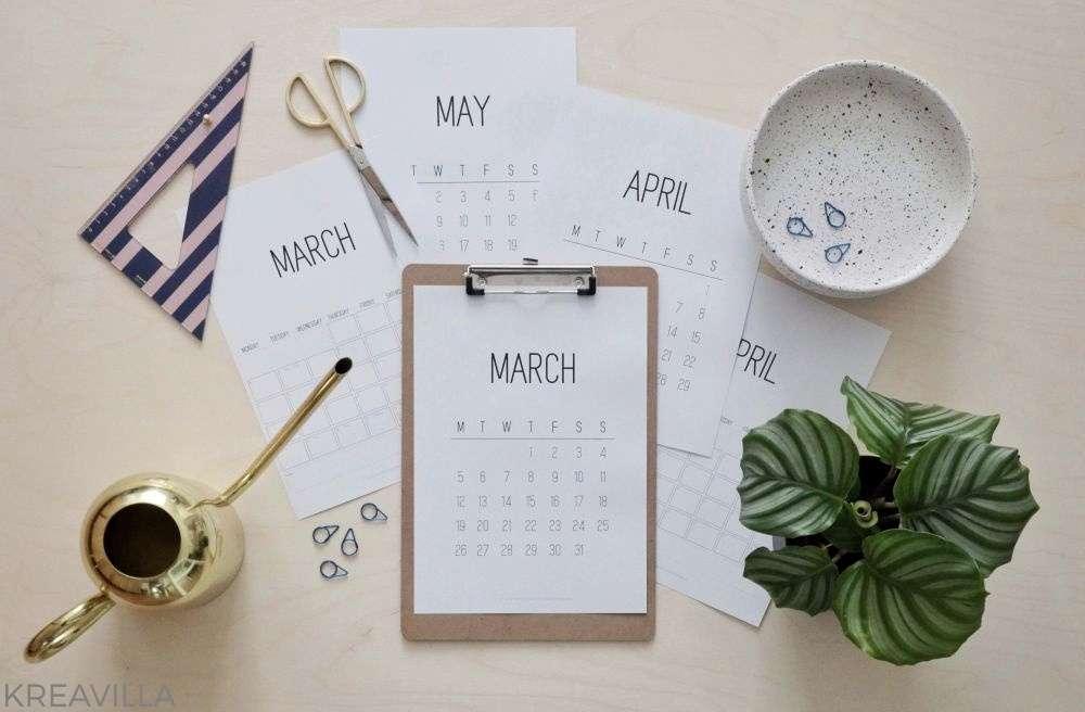 Free printable calendar | Kreavilla