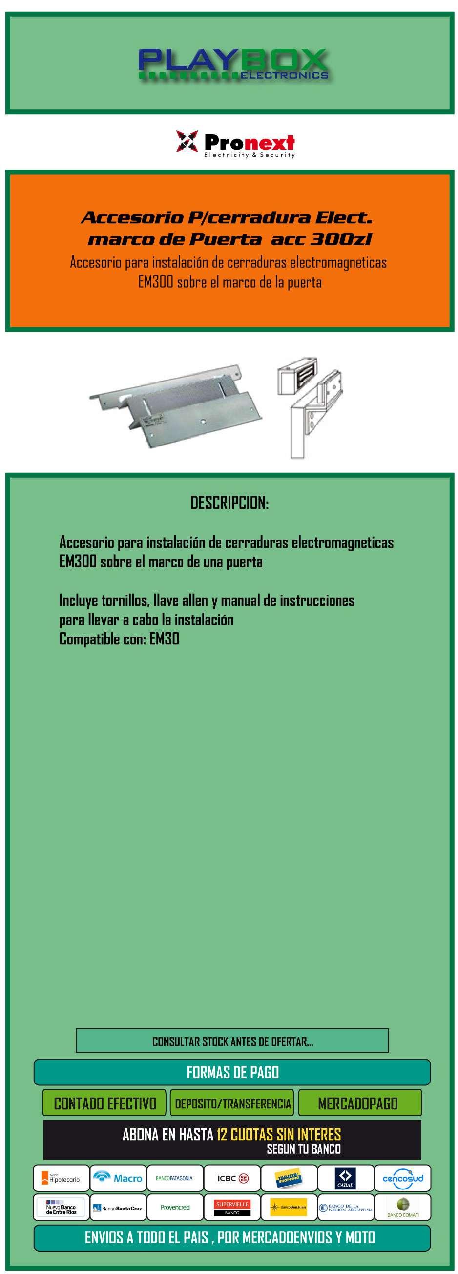 Accesorio P/cerradura Elect. Marco De Puerta Acc 300zl ...