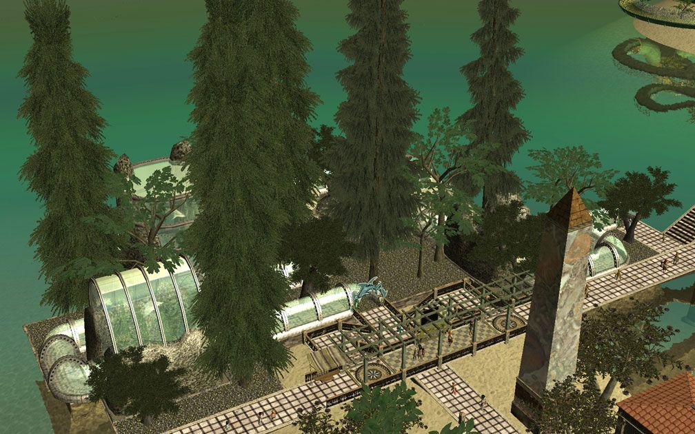 My Projects - CSO's I Have Imported, Pergolas Set - Distant View Highlighting Aquarium Behind Nearby Information Station, Image 09