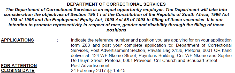 DPSA Vacancies: Department Of Correctional Services