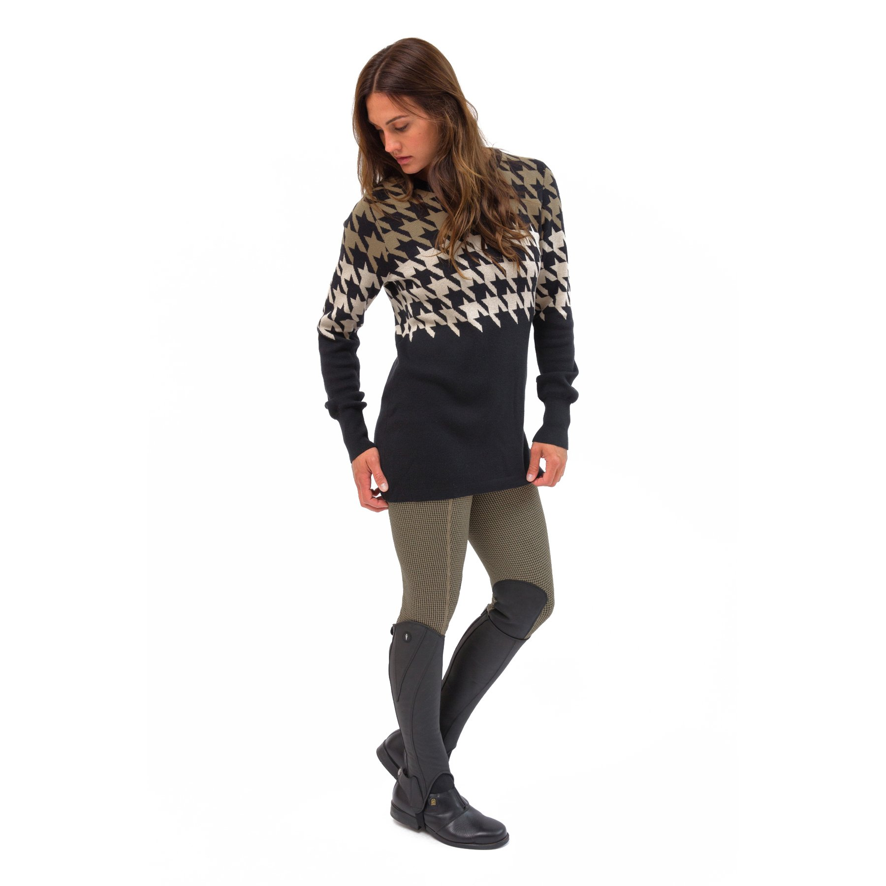 Kerrits-Equestrian-Women-039-s-Houndstooth-Tunic-Sweater-with-Scoop-Neck miniature 8