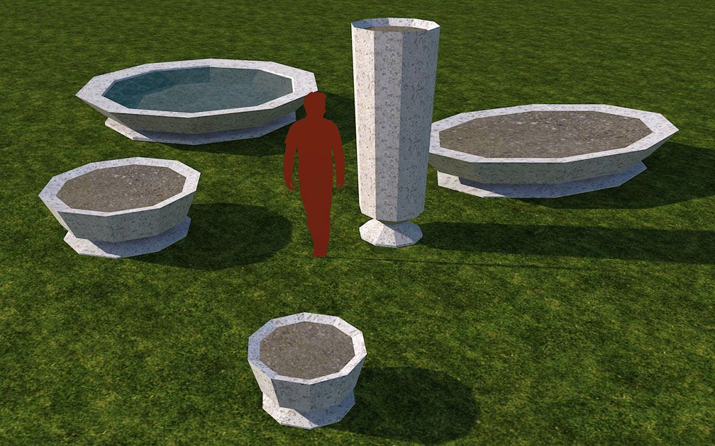 My Adventures In SketchUp: Planters 'n' Fountains Set - Screenshot Displaying Set Pieces, A, Image 01