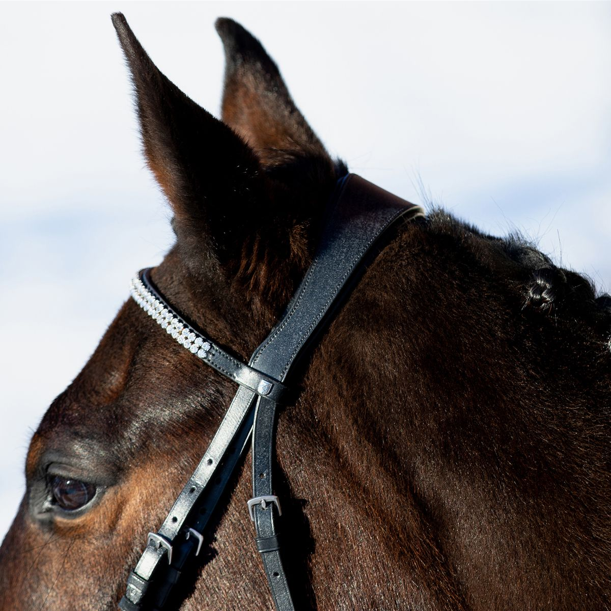 Horze-Rohan-Leather-Curved-Padded-Snaffle-Bridle-with-Rhinestone-Browband miniature 9