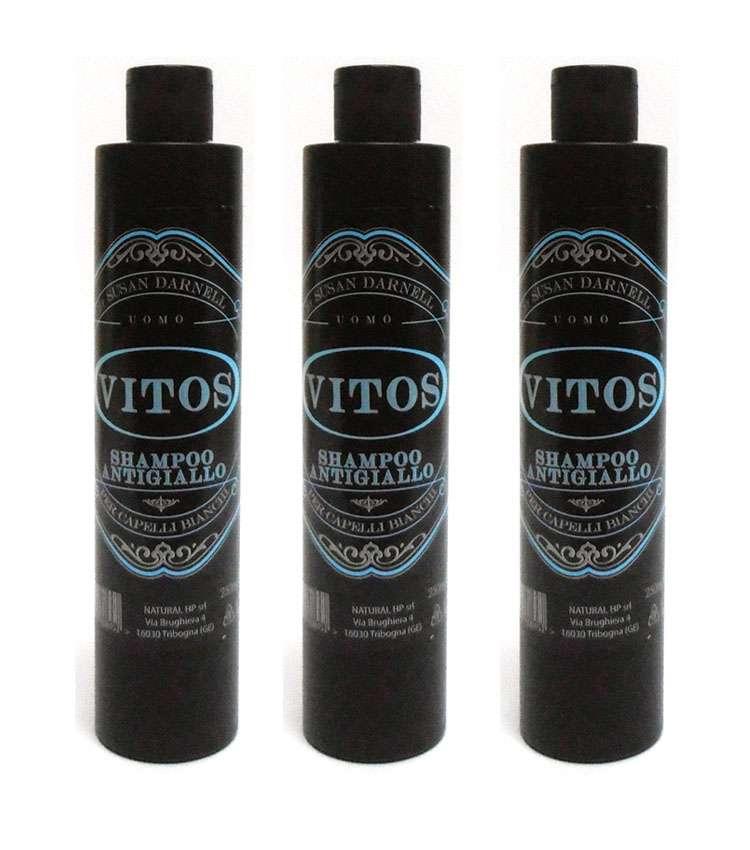 3pz VITOS Shampoo Antigiallo per capelli bianchi 250ml uomo prodotti ... 3c869fda5ad9