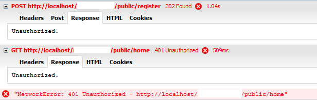 Laravel + Ajax - login and redirect after user registration