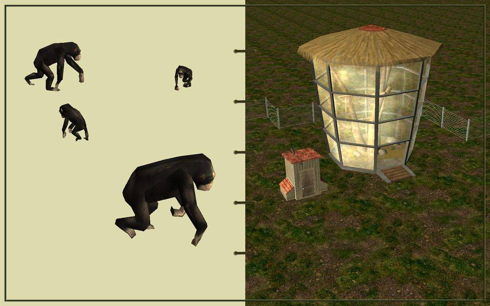 Image 02, RCT3 FAQ, Volitionist's RCT3 Animal Care Guide, Page 2: Chimps And Ape House With Chain Fence