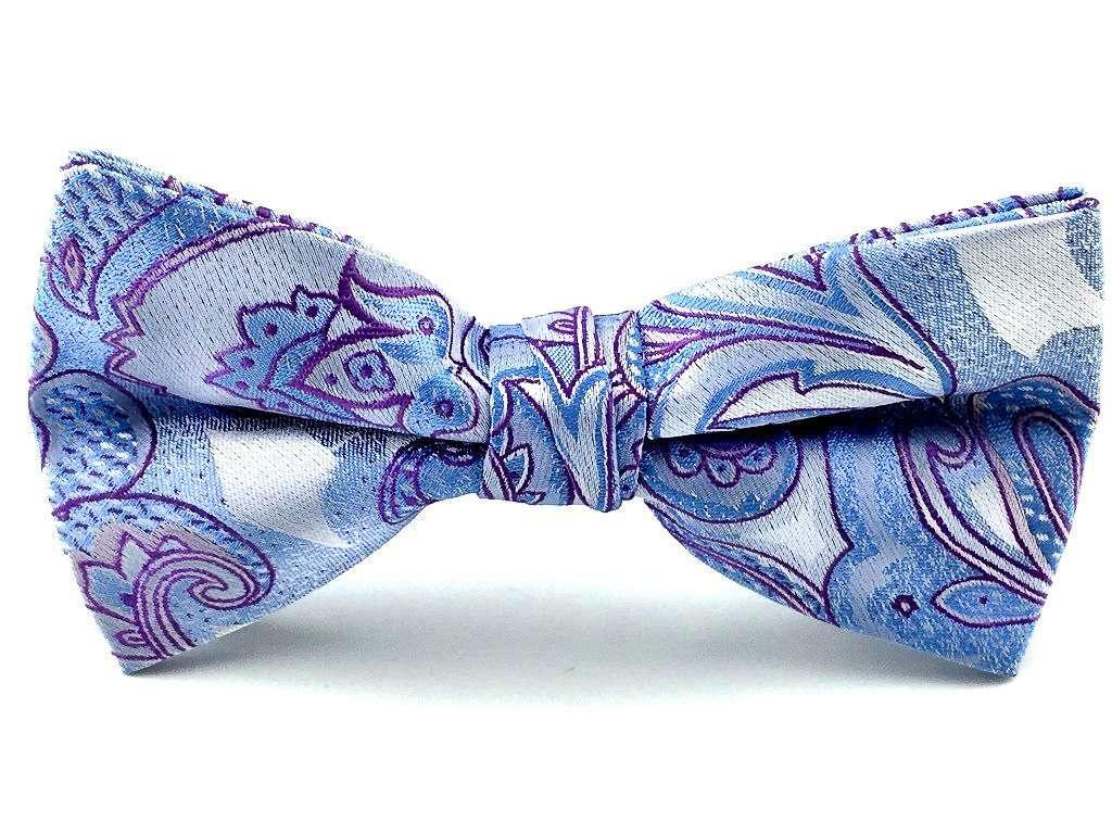 Men/'s Bowtie Blue Paisley Self-tied Bow Tie Groomsmen Wedding Bow Ties Bowties