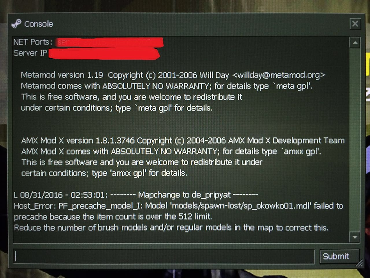 ERROR! Entering a map on CS1 6/CSCZ HELP! [Counter-Strike