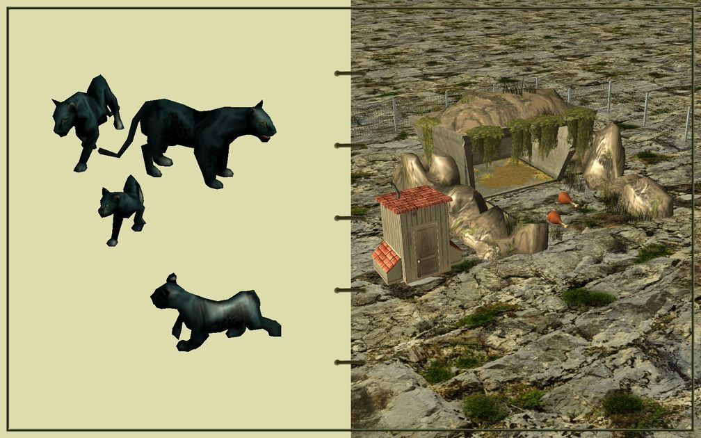 Image 17, RCT3 FAQ, Volitionist's RCT3 Animal Care Guide, Page 3: Panthers And Carnivore House With Chain Fence