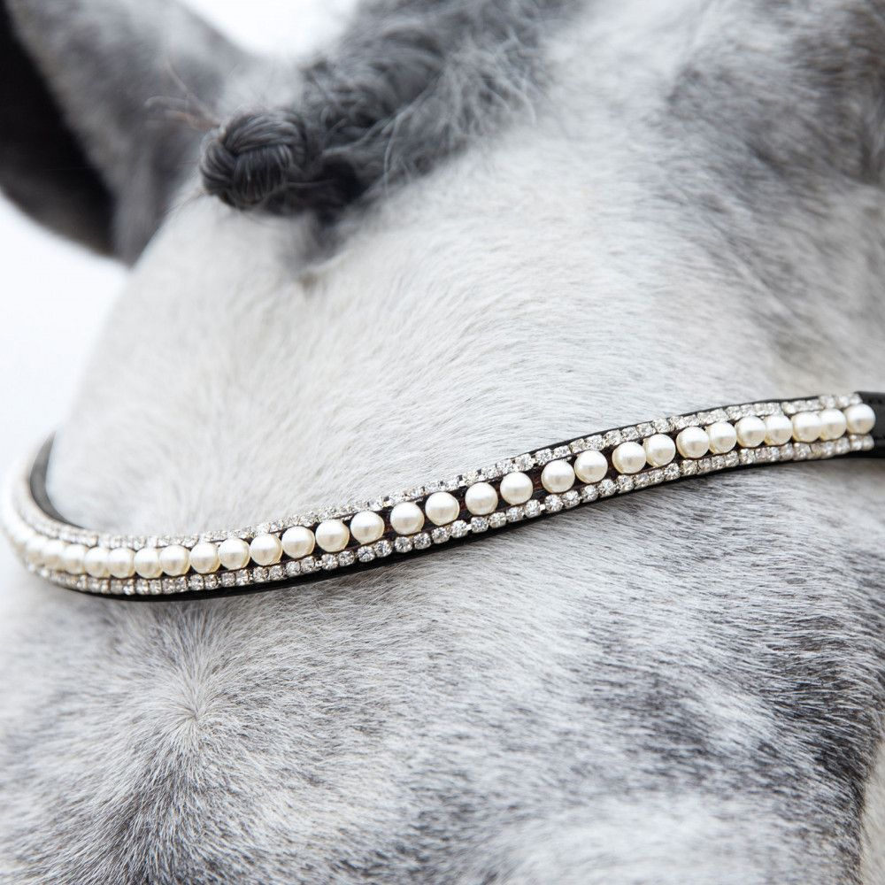 Horze-Trajan-Leather-Snaffle-Flash-Bridle-with-Narrow-Browband-and-Reins miniature 16