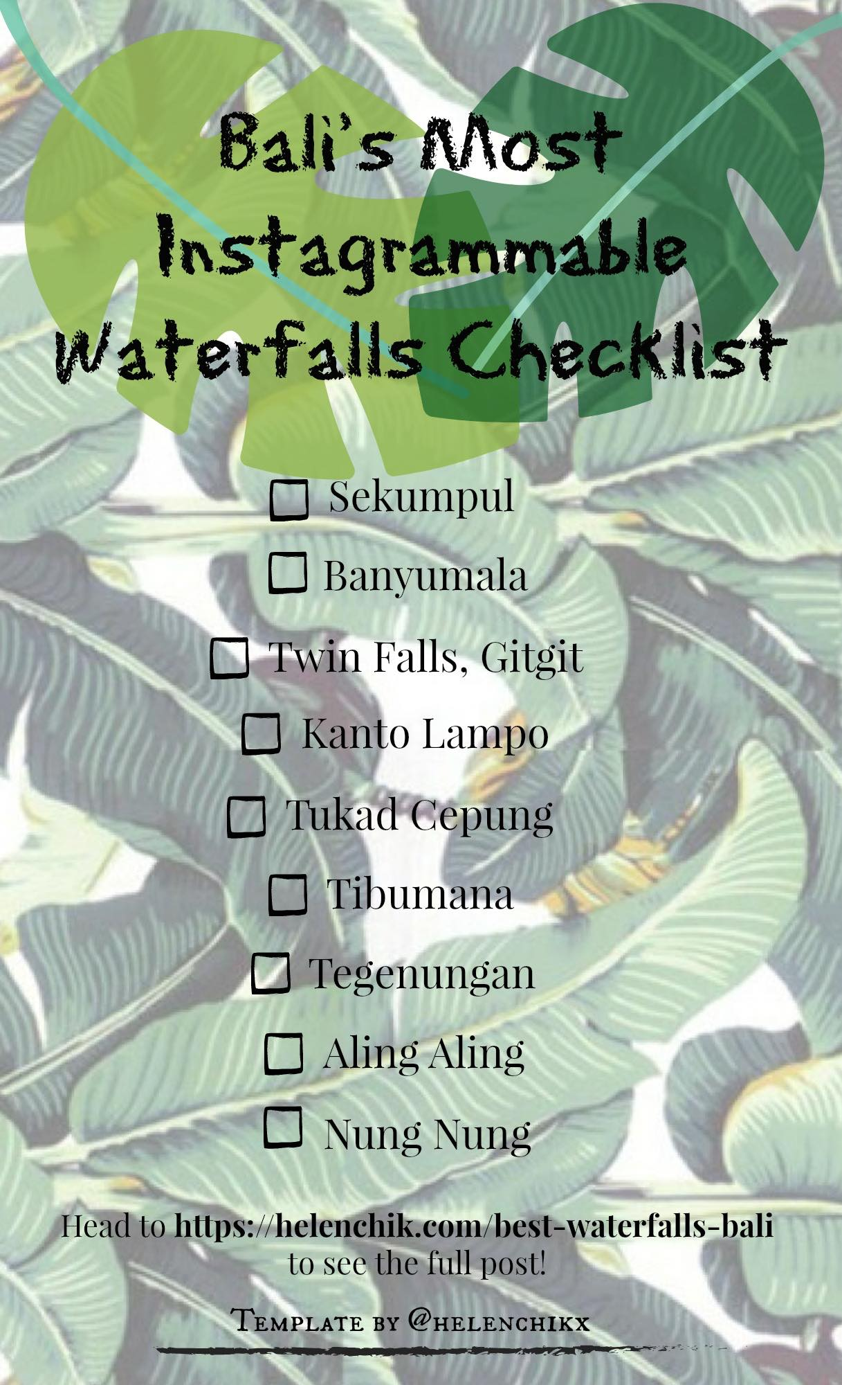 Bali's Most Instagrammable Waterfalls Checklist